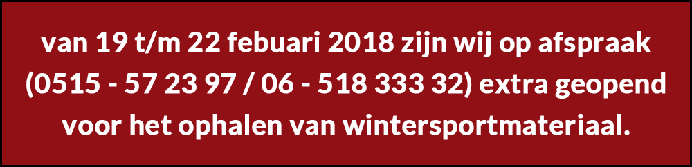 extra opening wintersportmateriaal